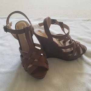 Charming Charlie's tan leather wedges
